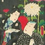 歌舞伎役者と花と背景